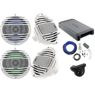 "4 x Hertz HMX65LD 6.5"" Marine Coaxial Speakers w/ LED lighting (White), Hertz HCP4M 4-Channel Amplifier, Kicker Weather-Proof Bluetooth Interface Controller, Kicker 8 Gauge Amplifier Installation Kit"