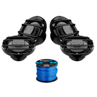 4 x Hertz HMX65S 6.5 inch Powersport Coaxial Speakers (Black), Enrock Marine-Grade Spool of 50 Foot 16-Gauge Tinned Speaker Wire