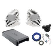 "2 x Hertz HMX6.5 6.5"" 2-Way Marine Speakers 150W Max (White), Hertz HCP2MX Stereo Amplifier 2x200W, Kicker Weather-Proof Bluetooth Interface Controller, Kicker 8 Gauge Amplifier Installation Kit"