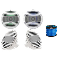 "2 x Hertz HMX-6.5LD 6.5"" Marine Coaxial Speakers w/ RGB LED lighting (White), 2 x Hertz HMX6.5 6.5"" 2-Way Marine Speakers 150W Max (White), Enrock Marine-Grade 50 Foot 16-Gauge Tinned Speaker Wire"