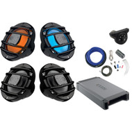 "2 x Hertz Audio 6.5"" Marine Coaxial Speakers w/ RGB Lighting Option (Black), 2 x Hertz 6.5"" Powersport Speakers (B), 4-Channel Amplifier, Kicker Bluetooth Interface Controller, Amp Installation Kit"