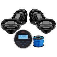 Jensen MS30BTR Mechless Compact Waterproof Stereo w/ Bluetooth & USB Inputs, 4 x Hertz HMX65S 6.5 inch Powersport Coaxial Speakers (Black), Enrock Marine-Grade 50Ft 16-Gauge Speaker Wire