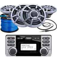 "Clarion CMD8 Marine Boat Yacht Audio CD/MP3 Stereo Receiver, 4 x Clarion 8.8"" 2-Way Marine Audio Speakers, Radio Antenna (Black), Marine-Grade 50Ft. 16 Gauge Speaker Wire"