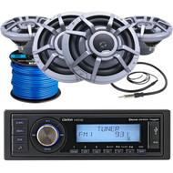"Clarion Marine M508 Single-DIN SiriusXM Ready Bluetooth USB AUX Digital Media Stereo Receiver, 4 x Clarion 8.8"" 2-Way Marine Audio Speakers, Radio Antenna (Black), Marine-Grade 50Ft. Speaker Wire"
