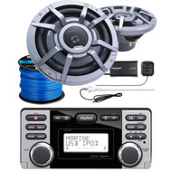 "Clarion CMD8 Marine Audio CD Stereo Receiver, 2 x CM2223R 8.8"" 2-Way Marine Audio Speakers, SiriusXM Satellite Radio Connect Vehicle Tuner Kit, Radio Antenna (White), Marine-Grade 50Ft. Speaker Wire"