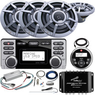 "Clarion CMD8 Marine Audio CD Stereo Receiver, 6 x 8.8"" 2-Way Marine Audio Speakers, 4-Channel Class D Compact Amp, Signal Splitter Amp, Antenna, Amp Installation Kit, Remote Control, Extension Cable"