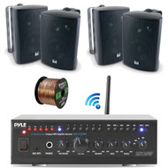"Pyle WiFi Bluetooth Stereo Amplifier 240-Watt Home Theatre Receiver, Dual Electronics 4"" 3-Way Bookshelf Studio Monitor Speaker (Black), Enrock Audio Spool of 50 Foot 16-Gauge Speaker Wire"