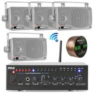"Pyle PTAUWIFI46 WiFi Bluetooth Stereo Amplifier 240-Watt Home Theatre Receiver, 4x Pyle 3.5"" 200 Watt 3-Way Weatherproof Mini Box Speakers (Silver), Enrock Audio Spool of 100 Ft 16-Gauge Speaker Wire"