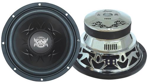 1 x  Lanzar VW1 x 24 Vibe 1 x 2'' 4 Ohm 1 x 600 Watt Chrome Subwoofer Sub Car Audio