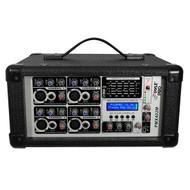 Pyle PMX402M 4 Channel 400 Watts Powered Mixer w/ MP3 USB Input DJ Pro
