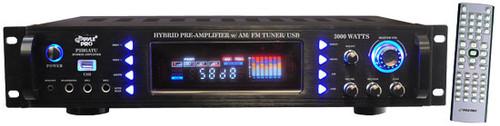 Pyle P3201ATU 3000 Watts Hybrid Pre Amplifier w/ AM FM Tuner/ USB