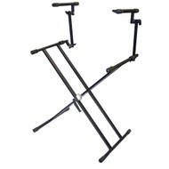 Pyle PKS60 Two Tier Double X Braced Heavy-Duty DJ Coffin / Keyboard Stand