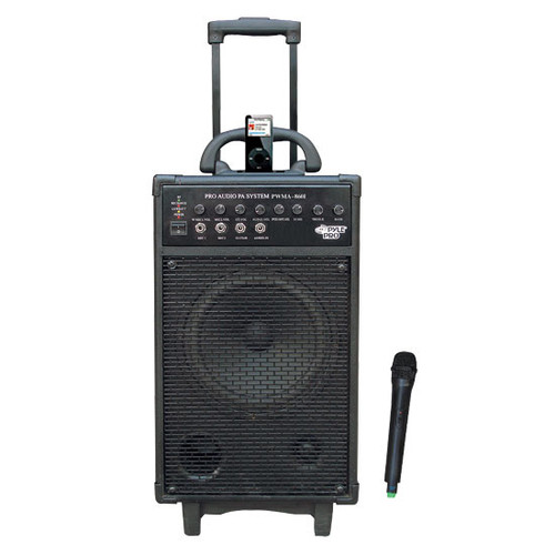 Pyle PWMA860I 500W VHF Wireless Portable PA System /Echo W/iPod Dock