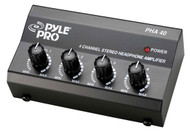 Pyle PHA40 4 Channel Stereo Headphone Amplifier DJ Pro Audio