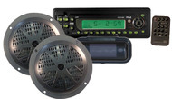 Pyle PLCD14MRKT In Dash Marine Boat CD MP3 Player + Pair Speaker and Radio Cover