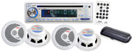 Pyle PLCD8MRKT White Complete Marine Water Proof 4 Speaker CD USB MP3 w/ Stereo Cover