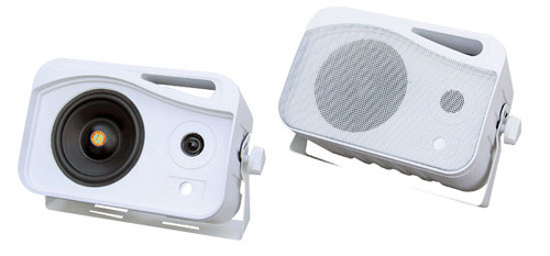 Pair Pyle PLMR25 White 4'' 300W 3-Way WeatherProof Mini Box Speaker System