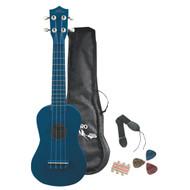Pyle PGAKT10BL Soprano Ukulele Mini Guitar Starter Package All Ages - Blue