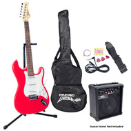 Pyle PEGKT15R Beginner Electric Guitar Package Red