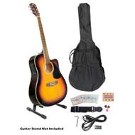 PylePro PGAKT40SB 41'' Sunburst Acoustic-Electric Guitar Package +Gig Bag Strap Picks