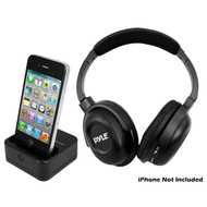 PyleHome PIH20 UHF Wireless Headphones with iPhone/iPod Dock Transmitter Aux Input