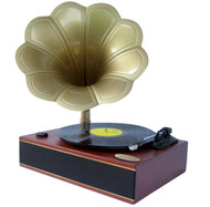 Pyle PNGTT1R Mahogany Classic Horn Phonograph/Turntable W/ AUX, USB-To-PC Connection