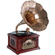 PyleHome PTCDCS3UIP Classical Horn Turntable/Phonograph AM FM CD/Cassette USB Recording