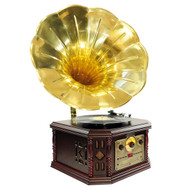 PylePro PVNP4CD Vintage Phonograph Horn Turntable CD Cassette AM FM Aux USB-to-PC Rec