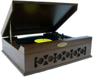 Pyle PVNTT6UMT Vintage Style Phonograph/Turntable w/USB-To-PC Connection Dark Maple
