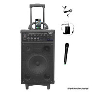 Pyle PWMA1090UI 800W Wireless Portable PA System iPod Dock USB/SD/FM &2 Mics