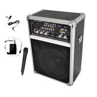 Pyle 400W Wireless PA System W/USB SD MP3 FM Radio 1 Lavalier 1 Handheld Mic