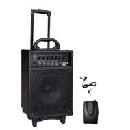 PylePro PWMA260 300 Watt Wireless Rechargeable Portable PA System W Lavalier Microphone