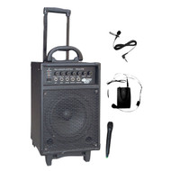 PylePro PWMA370 300W Wireless Rechargeable Portable PA System W/ Handheld & Lavalier Mic