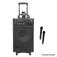 PylePro PWMA970 300W Wireless Portable PA System W/iPod Dock FM/USB/SD & 2 Mics