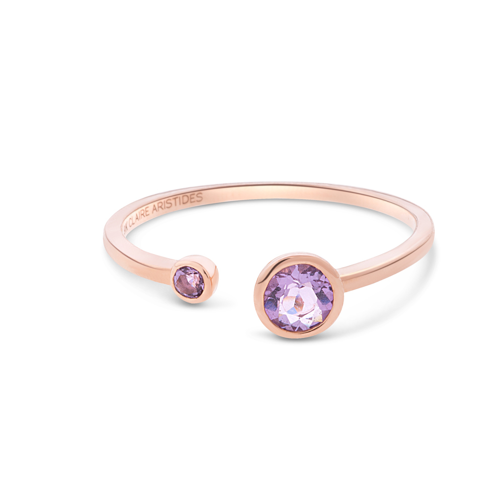 Pink Amethyst Aura Gemstone Ring