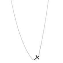 Black Diamond Cross Necklace in White Gold