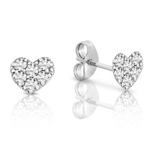 My First Diamond Heart Bambino Earrings in White Gold