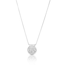 'Touch of Love' Diamond Disc Necklace in White Gold