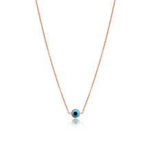 Turquoise Evil Eye Necklace in Rose Gold