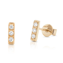 Diamond Yellow Gold Bar Earrings