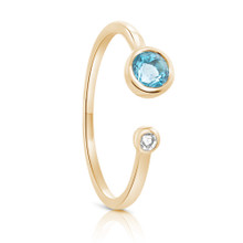 SALE Aura White & Blue Topaz GemStone Ring Yellow Gold