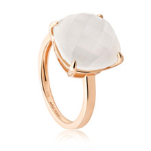 Aura Cushion Cut Moonstone GemStone Yellow Gold Ring