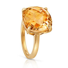Aura Cushion Cut Citrine GemStone Yellow Gold Ring