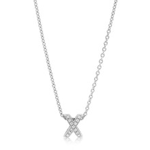 Diamond 'X' Necklace White Gold
