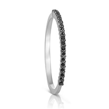 Petite Black Diamond Eternity Ring in White Gold
