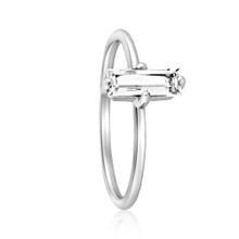 Aura Baguette White Topaz GemStone White Gold Ring