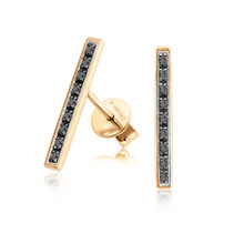 Black Diamond Linear Earrings in Yellow Gold