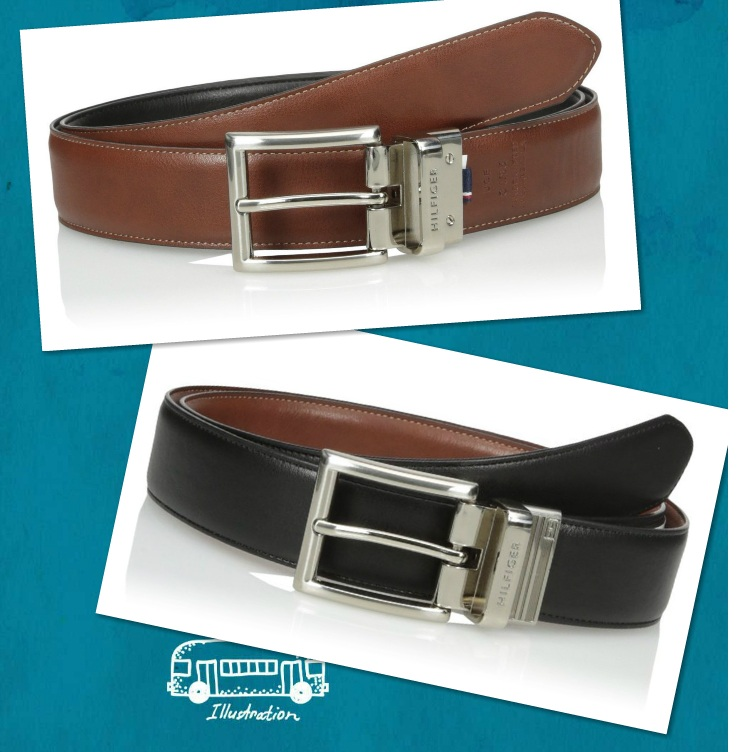 Dây lưng nam Tommy Hilfiger Men's Dress Reversible Belt with Polished Nickel Buckle - 11TL08X013