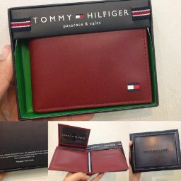 Ví nam Tommy Hilfiger Men's Leather Dore Passcase Billfold Wallet, Red