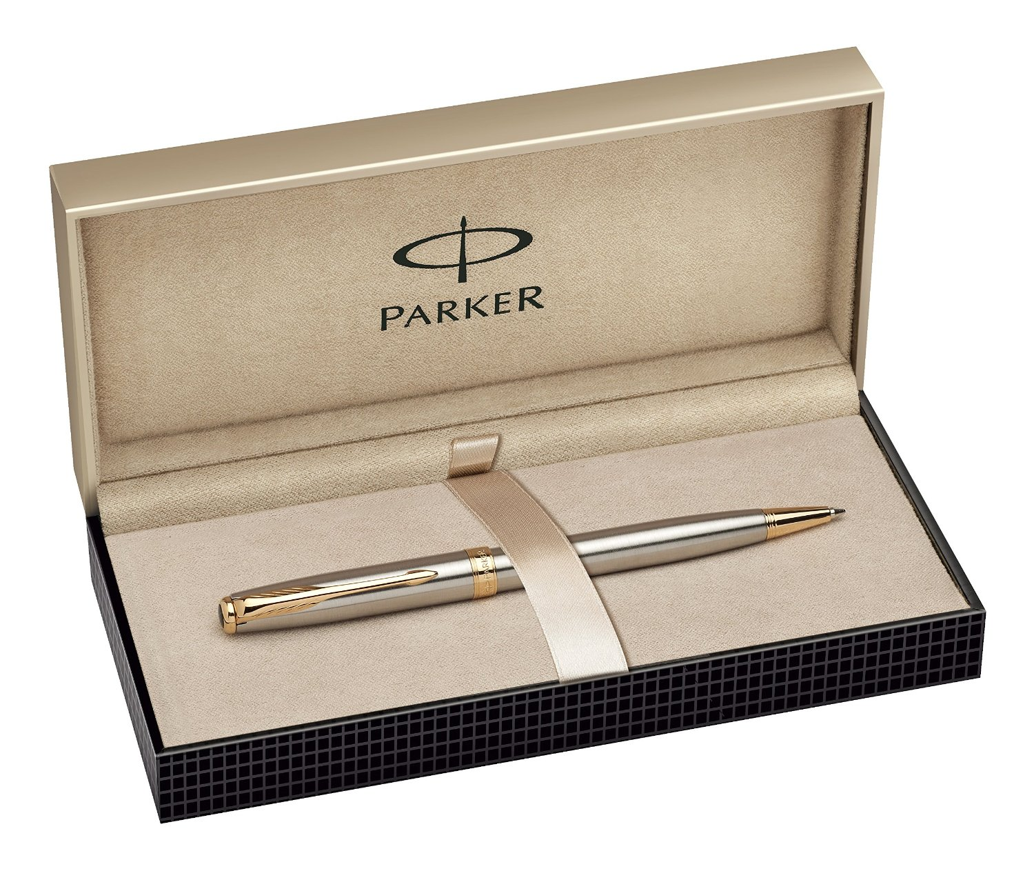 Bút Parker Sonnet Stainless Steel Ballpoint Pen with Gold Trim